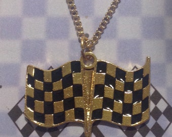 Double checkered gold plated racing jewelry  Tracey's Racing Jewelry Exclusive item
