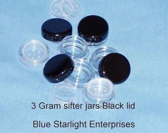 12 - 3 gram sifter jars for mineral makeup - black lids - item 203