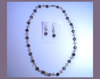 IOLITE NECKLACE And EARRING Set -- Handcrafted Sterling Silver 4 Leaf Clover Design  –- Made In Maine