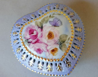Pink Rose and  Butterfly, Blue Heart Box