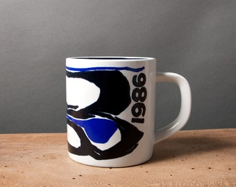 Vintage mug, Retro mug, Royal Copenhagen mug, Danish 1986 anniversary mug, Ceramics blue white, Gift for him, Large coffee mug, Collectible