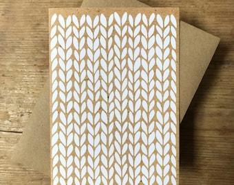 White kraft stocking stitch knit graphic - greeting card