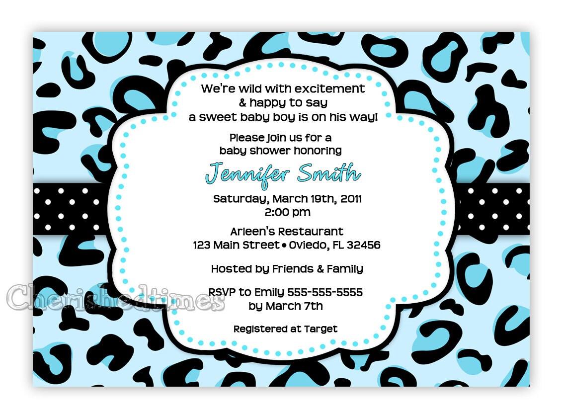 Leopard Boy Baby Shower Invitation Digital File