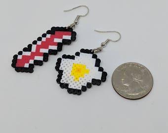 Bacon and Eggs Mini Perler Earrings