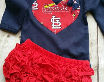 St Louis Cardinals Inspired Shirt or bodysuit and Ruffle Diaper Cover