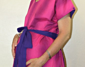 SALE - LINED Medium Maternity Hospital Delivery Gown - Purple Polka Dots on Hot Pink - Ready to Ship-One of a Kind - by Mommy Moxie on Etsy