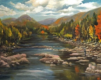 Autumn At The Pemi Framed Oil Painting