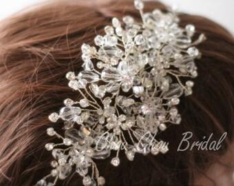 Bridal Hair Vine Wedding Flower Crown Bridal Tiara Long Hair Vine Crown Ducal Crystal Hair Comb Hair Vine Crystal Crown Bridal Hair Pins