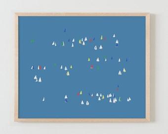 Fine Art Print.  Sailboats on the Bay.  February 16, 2016.