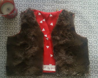 """Vest """"Ginette"""". reversible. cotton fabric and faux fur. sleeveless. for children."""