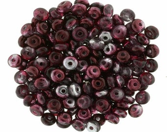 New Mirror Cranberry 3 mm Rondelle Beads (100)