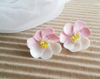 Pink Stud earrings Small spring flower studs Pink petals Gentle small earrings Lovely Birthday Gifts for her Polymer clay handmade ear post