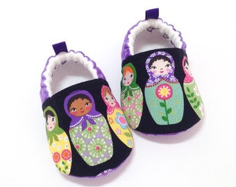 Matryoshka Dolls Baby Shoes - Purple, Soft Sole Baby Shoes, Booties, Toddler slippers