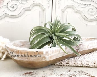 White Wood Dough Bowl Trough with Gold / Farmhouse Table Centerpiece Hand Painted