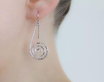 Silver Swirl Earrings, Hand Forged & Hammered Drops on Hooks, Inspired by Uhura in Star Trek, Hypoallergenic Nickel Free Sterling Jewelry