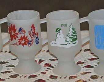 TIARA Pedestal Mugs 6 Frosted Vintage