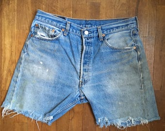 vintage levis 501 cut off daisy dukes blue jean shorts made in usa w32