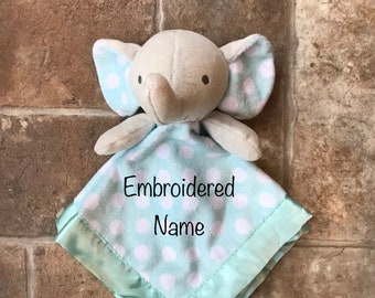 Lovey- Security Blanket-Baby Shower Gift-New Baby Gift-Baptism Gift-Custom-Personalized-Embroidered-Animal-Elephant