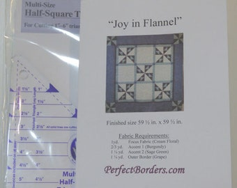 Joy in Flannel Quilt Pattern and From Marti Michell Multi-Size Half-Square Triangle Ruler