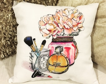 Fashion Illustration Chanel and Peonies throw pillow