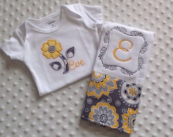 Baby Girl Personalized 2 Piece Gift Set  - Bodysuit and Burp Cloth-Yellow  and Gray Florals