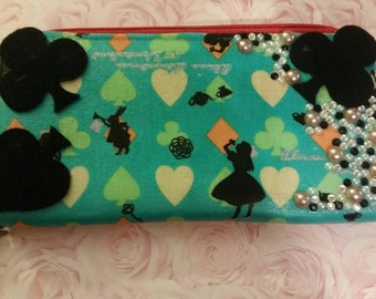 Alice in wonderland wallet, Teal and orange
