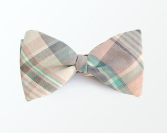 Men's Bow Tie, Vintage Plaid Bowtie, Self Bow Ties, Bowties for Men / READY TO SHIP