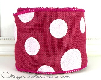 "Burlap Wired Ribbon, 4"", Fuchsia Pink, White Polka Dots - Four Yards SEAMED - Offray ""Dixie"" #70214 Hot Pink  Wire Edged Ribbon"