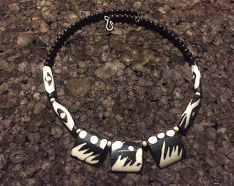 Afrocentric Jewelry - Batik Bone Choker