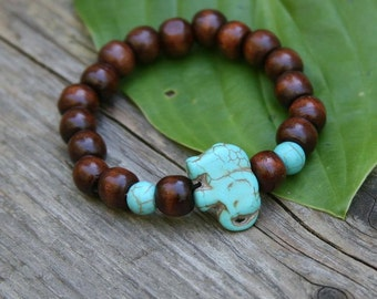 GOOD KARMA SPECIAL! Yogi inspired wood bead mala bracelet with turquoise colored elephant gemstone for men or women buy one get one free