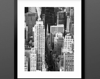New York 'Big Streets' Art Print,  modern black and white areal photography, urban monochrome wall art, contemporary photography gift