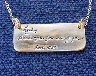 Custom Handwriting Necklace - RECTANGLE shape pendant - made with YOUR loved one's very own handwriting
