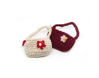 Small Bag Brooch - 100% Handmade Crochet Brooch