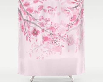 Pink Cherry Blossom Shower Curtain, Traditional Watercolor   Floral, Pink  Spring , Bathroom Decor