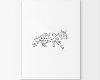 Geometric Fox, Fox Art, Fox Prints, Origami Art, Digital Download, Origami Prints, Fox Wall Art, Printable Art, Fox Wall Prints,