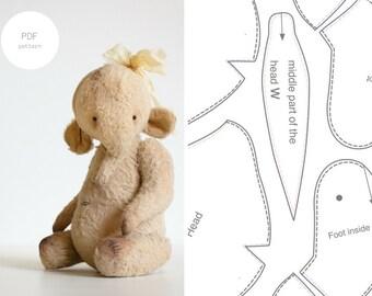 PDF Sewing Pattern & Tutorial Mohair Elephant 9 Inches Stuffed Animal Pattern Artist Teddy Bear Pattern For Women Plush Pattern Soft Toys