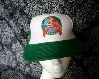South Pacific Lager Vintage 90s Snapcback Baseball Cap. South Pacific Beer 80s Mesh Trucker Hat. 80s Hipster Beer Dad Hat