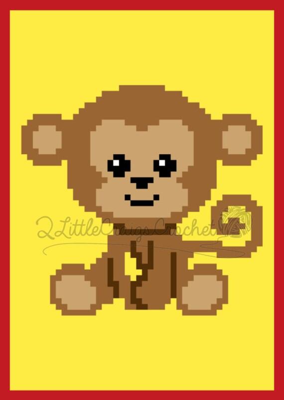 Instant Download Monkey Crochet Graph Crochet Pattern Jungle