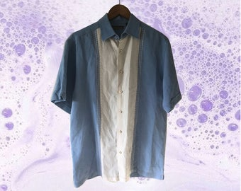 Vintage Blue White Linen Cuban Style Short Sleeve Shirt size M
