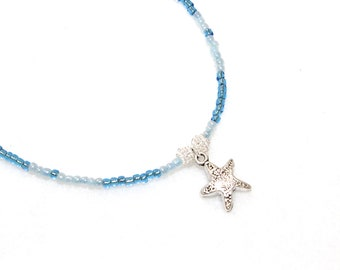 STARFISH ANKLET blue anklet beachy anklet starfish charm Beachy jewelry Summer jewelry gift for friend beaded anklet blue beads charm anklet
