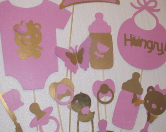 PINK AND GOLD photo booth props for baby showers..End of year sale!!!