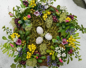 "Mother's Day Bird Nest, Farmhouse Bird Nest, 10"" Spring Bird Nest and Eggs, Spring Bird Nest Floral Arrangement, Woodland, Rustic, Country"