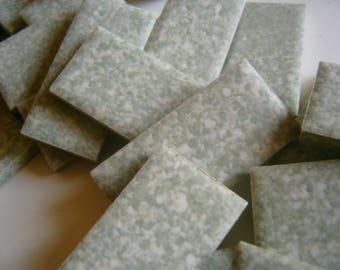 Mosaic Tile  Vintage  Unglazed Green White Speckle 50 Pieces