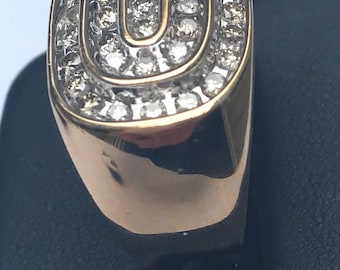 Men's 14k yellow gold and 1 + ct of Diamonds