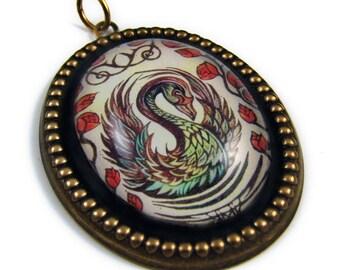 The Black Swan -- Brass Pendant with Original Artwork