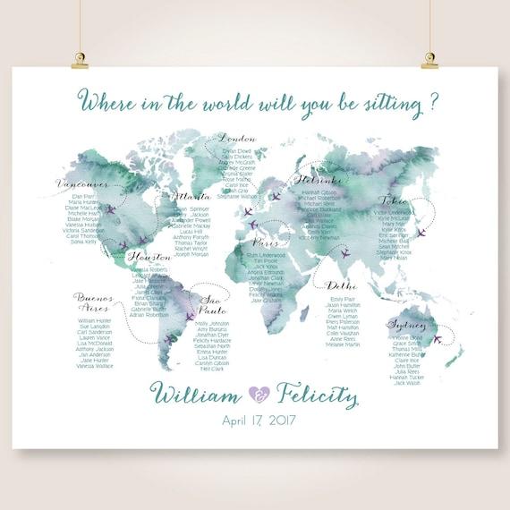 Digital wedding seating chart printable world map watercolor te gusta este artculo gumiabroncs Gallery
