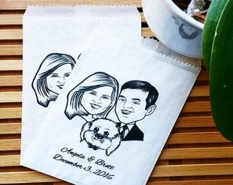 Custom Illustrations- Portrait Stamps - Digital Couple Caricature - Wedding Caricature - Bride and Groom - Wedding Favors - Engagement