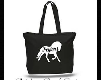 Horse Tote/Horse Bag/Personalized Horse Tote/Canvas Horse Tote/Barn Bag/Overnight Bag