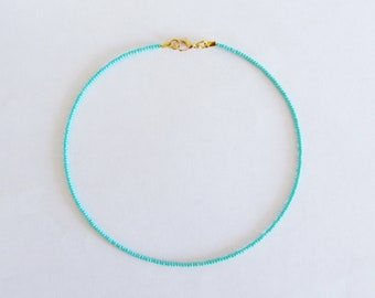 Turquoise necklace beaded choker turquoise beaded choker turquoise choker seed bead choker Turquoise beaded choker necklace choker