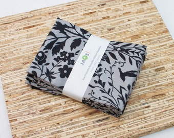 Large Cloth Napkins - Set of 4 - (N3212) - Gray Charcoal Floral Bird Modern Reusable Fabric Napkins